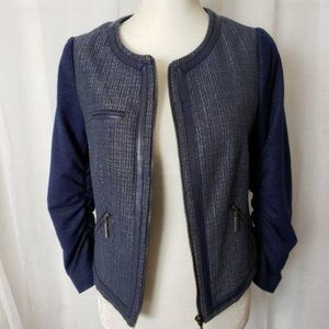 The Limited Long Sleeve Leather Trim Blazer Jacket Small